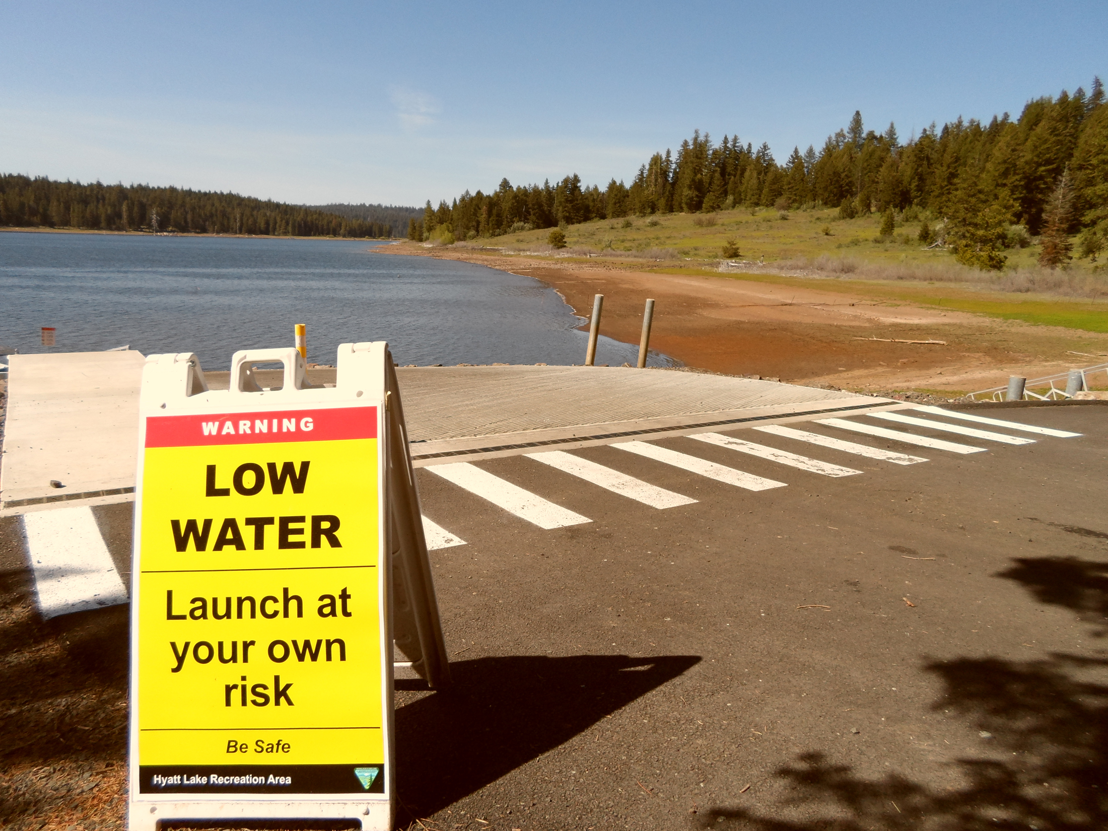 Low Water Warning sign at Hyatt Lake in early summer 2014