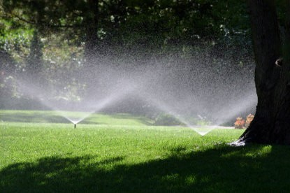Credit: RVCOG  Sprinklers can be adjusted so they distribute water evenly and do not run off into the streams.