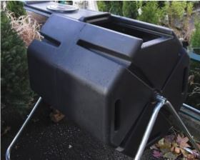 A rotating bin is one of many options for composting. Photo courtesy of Jackson SWCD